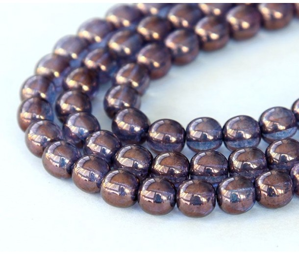 Bronze Illusion Czech Glass Beads, 6mm Round