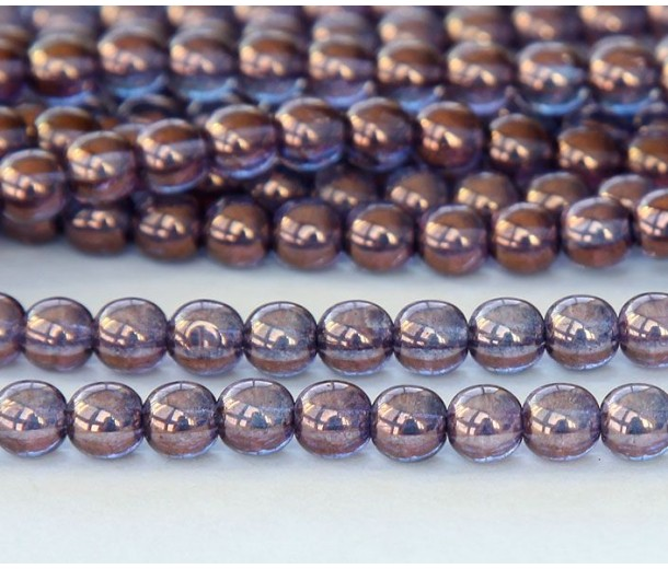 Bronze Illusion Czech Glass Beads, 4mm Round