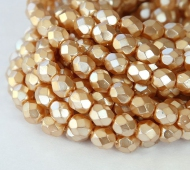 Gold Pearl Czech Glass Beads, 8mm Faceted Round
