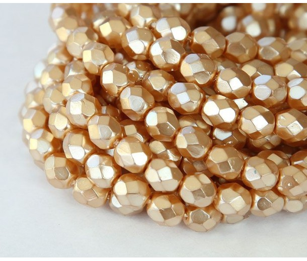 Gold Pearl Czech Glass Beads, 6mm Faceted Round