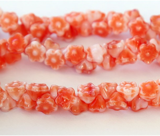 Opaque Orange White Czech Glass Beads, 7mm Button Flower