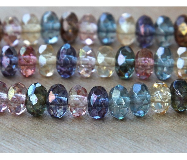 Multicolor Luster Czech Glass Beads, 7x5mm Rondelle