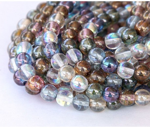 Multicolor Luster Czech Glass Beads, 6mm Round