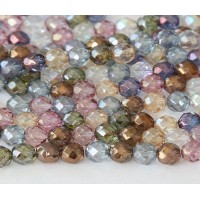 Multicolor Luster Czech Glass Beads, 6mm Faceted Round