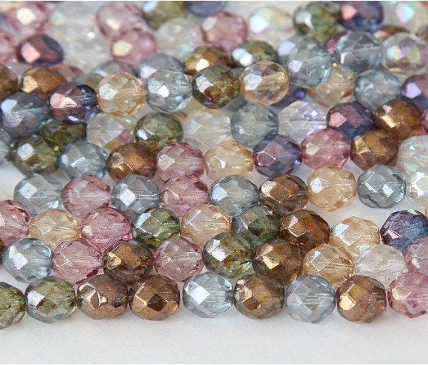 Multicolor Luster Czech Glass Beads, 8mm Faceted Round