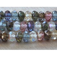 Multicolor Luster Czech Glass Beads, 9x6mm Rondelle