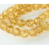 Crackle Medium Topaz Czech Glass Beads, 8mm Round