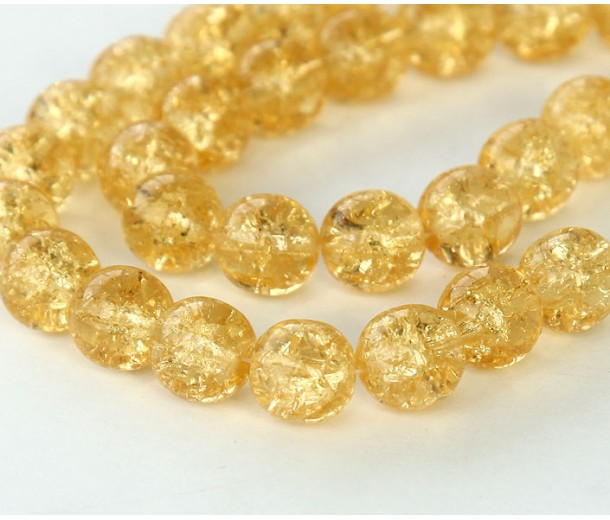 Crackle Medium Topaz Czech Glass Beads, 8mm Round
