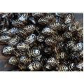 Smoky Topaz Gold Inlay Czech Glass Beads, 14x9mm Leaf, Pack of 20