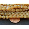 Milky Topaz Czech Glass Beads, 6mm Faceted Round