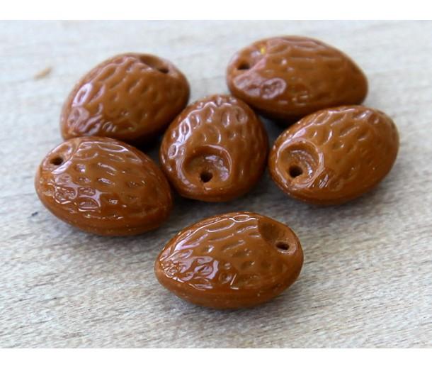 Brown Czech Glass Beads, 12mm Almond