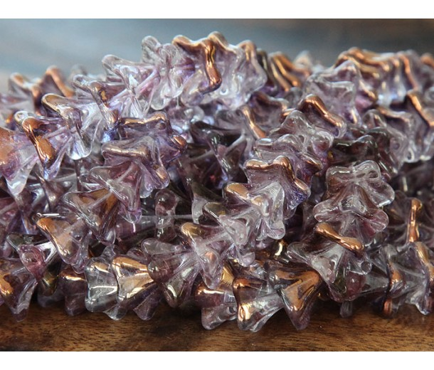 Light Copper Amethyst Luster Czech Glass Beads, 8x13mm Trumpet Flower