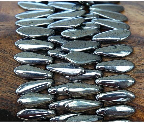 Hematite Czech Glass Beads, 5x16mm Dagger