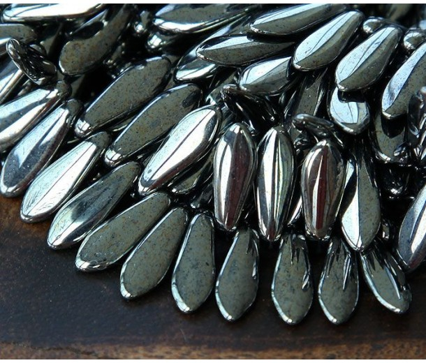 Hematite Czech Glass Beads, 5x16mm Dagger, Pack of 25