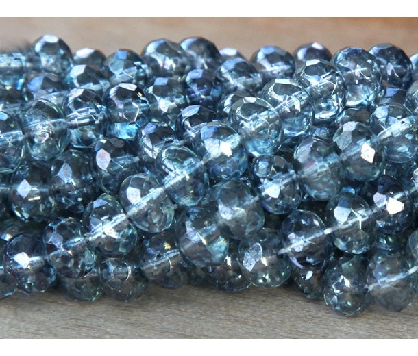 Transparent Blue Luster Czech Glass Beads, 7x5mm Rondelle