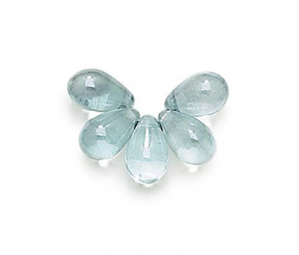 Transparent Blue Luster Czech Glass Beads, 9x6mm Teardrop