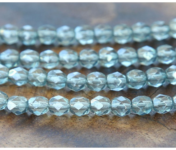 Transparent Blue Luster Czech Glass Beads, 6mm Faceted Round