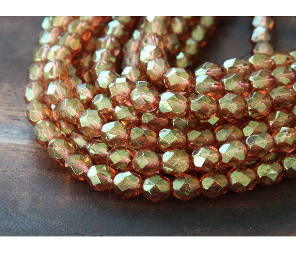 Transparent Rosaline Luster Czech Glass Beads, 6mm Faceted Round