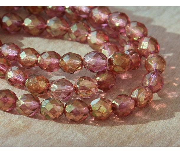 Transparent Rosaline Luster Czech Glass Beads, 8mm Faceted Round