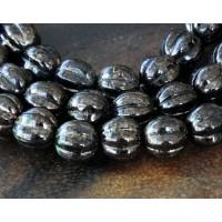 Jet Dark Bronze Marbled Czech Glass Beads, 8mm Melon Round