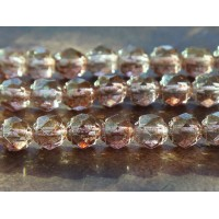 Transparent Topaz Pink Luster Czech Glass Beads, 6mm Renaissance