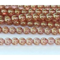 Transparent Topaz Pink Luster Czech Glass Beads, 6mm Round
