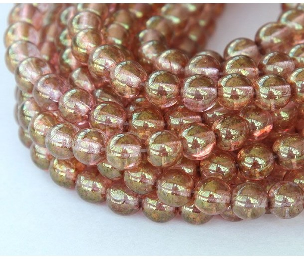 Transparent Topaz Pink Luster Czech Glass Beads, 6mm Round