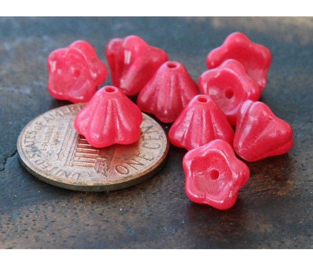 Coated Raspberry Sorbet Czech Glass Beads, 8x6mm Bell Flower