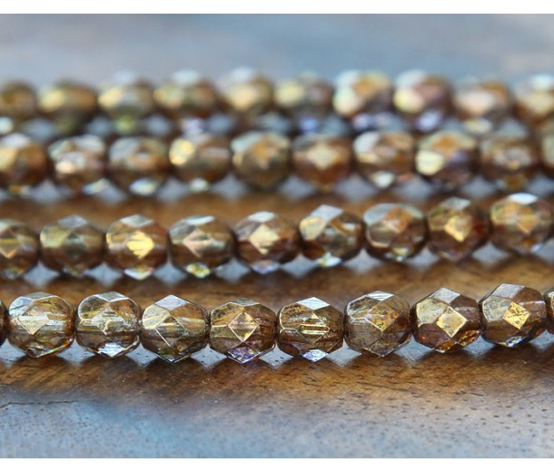 Transparent Gold Smoked Topaz Luster Czech Glass Beads, 6mm Faceted Round