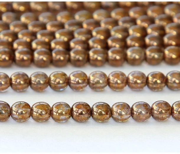 Transparent Gold Smoked Topaz Luster Czech Glass Beads, 6mm Round