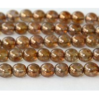 Transparent Gold Smoked Topaz Luster Czech Glass Beads, 8mm Round