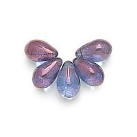 Transparent Amethyst Czech Glass Beads, 9x6mm Teardrop
