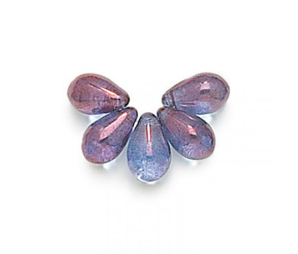 Transparent Amethyst Czech Glass Beads, 9x6mm Teardrop