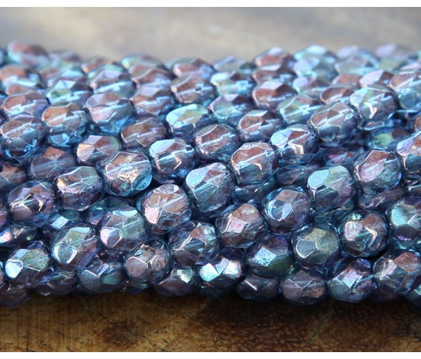 Transparent Amethyst Luster Czech Glass Beads, 6mm Faceted Round