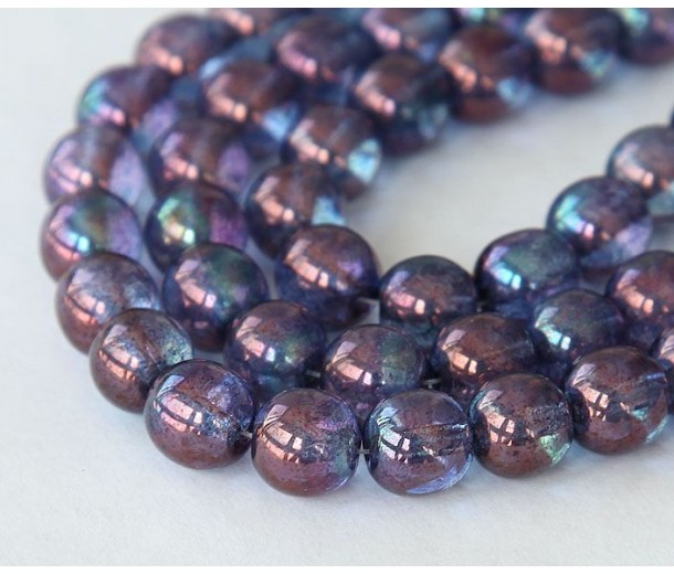 Transparent Amethyst Luster Czech Glass Beads, 8mm Round