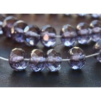 Transparent Amethyst Luster Czech Glass Beads, 9x6mm Rondelle