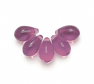 Amethyst Czech Glass Beads, 9x6mm Teardrop