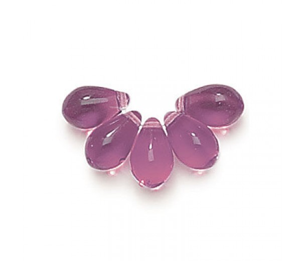 Amethyst Czech Glass Beads, 9x6mm Teardrop