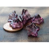 Amethyst Czech Glass Beads, 8x13mm Trumpet Flower, Pack of 25