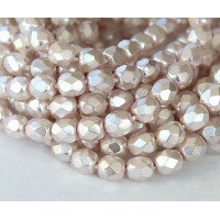 Lilac Pearl Czech Glass Beads, 6mm Faceted Round