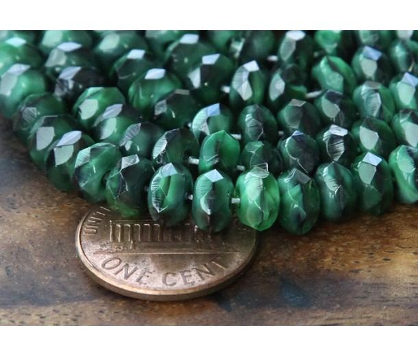 Green With Black Swirl Czech Glass Beads, 7x5mm Rondelle