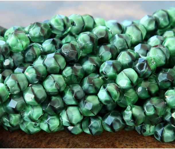 Green With Black Swirl Czech Glass Beads, 6mm Faceted Round