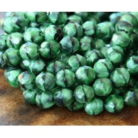 Green With Black Swirl Czech Glass Beads, 8mm Faceted Round