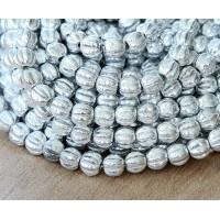 Silver Czech Glass Beads, 5mm Melon Round