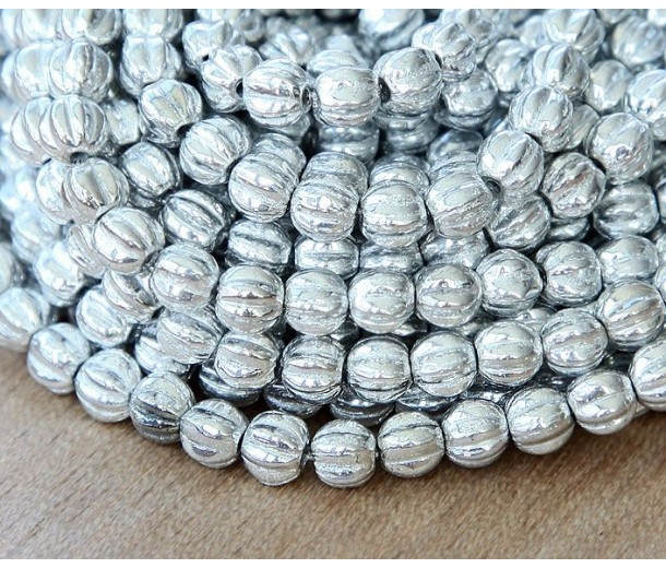 Silver Czech Glass Beads, 5mm Melon Round