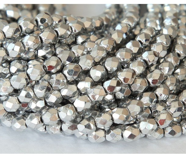 Silver Czech Glass Beads, 4mm Faceted Round