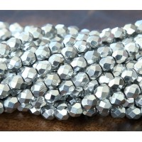 Silver Czech Glass Beads, 8mm Faceted Round