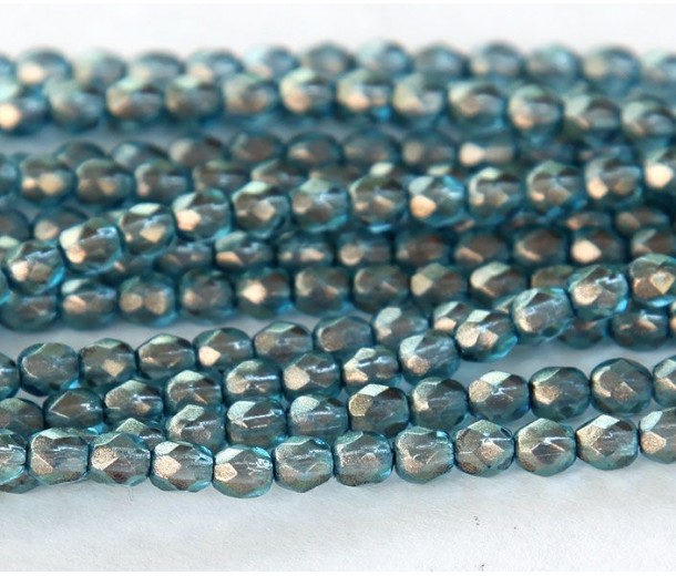 Shadows Halo Czech Glass Beads, 4mm Faceted Round