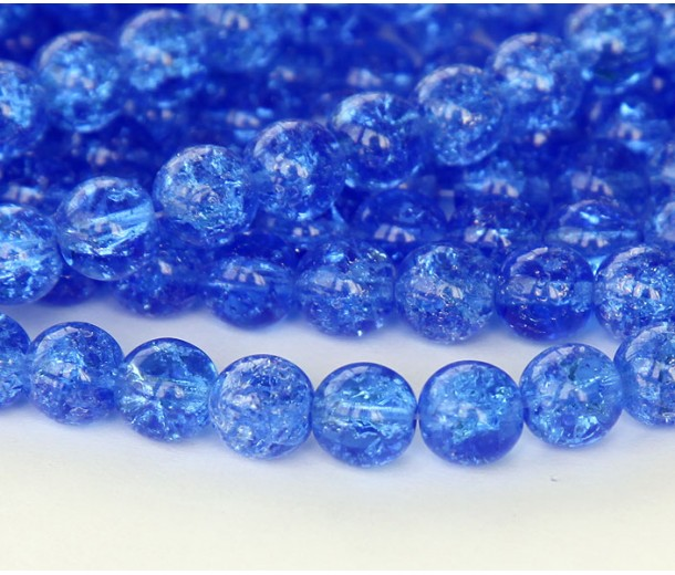 Crackle Sapphire Czech Glass Beads, 8mm Round