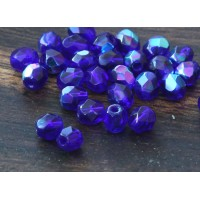 Cobalt AB Czech Glass Beads, 4mm Faceted Round